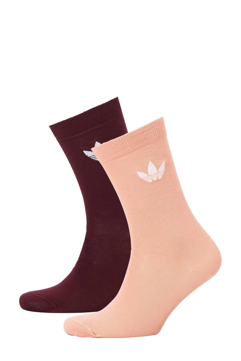 adidas originals   sokken (set van 2) donkerrood/zalm, Donkerrood/zalm