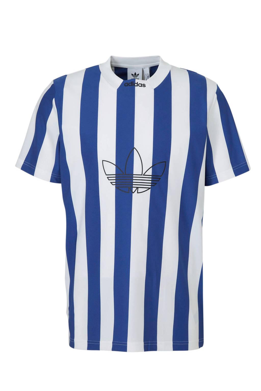 d87dbce0034 adidas originals T-shirt blauw/wit streep, Blauw/wit
