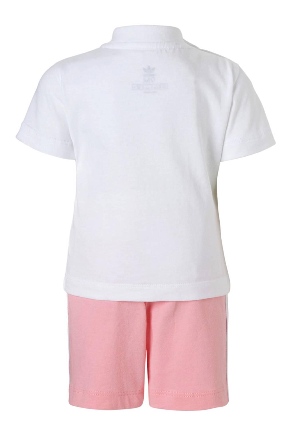 adidas Originals shirt + short roze/wit, Roze/wit