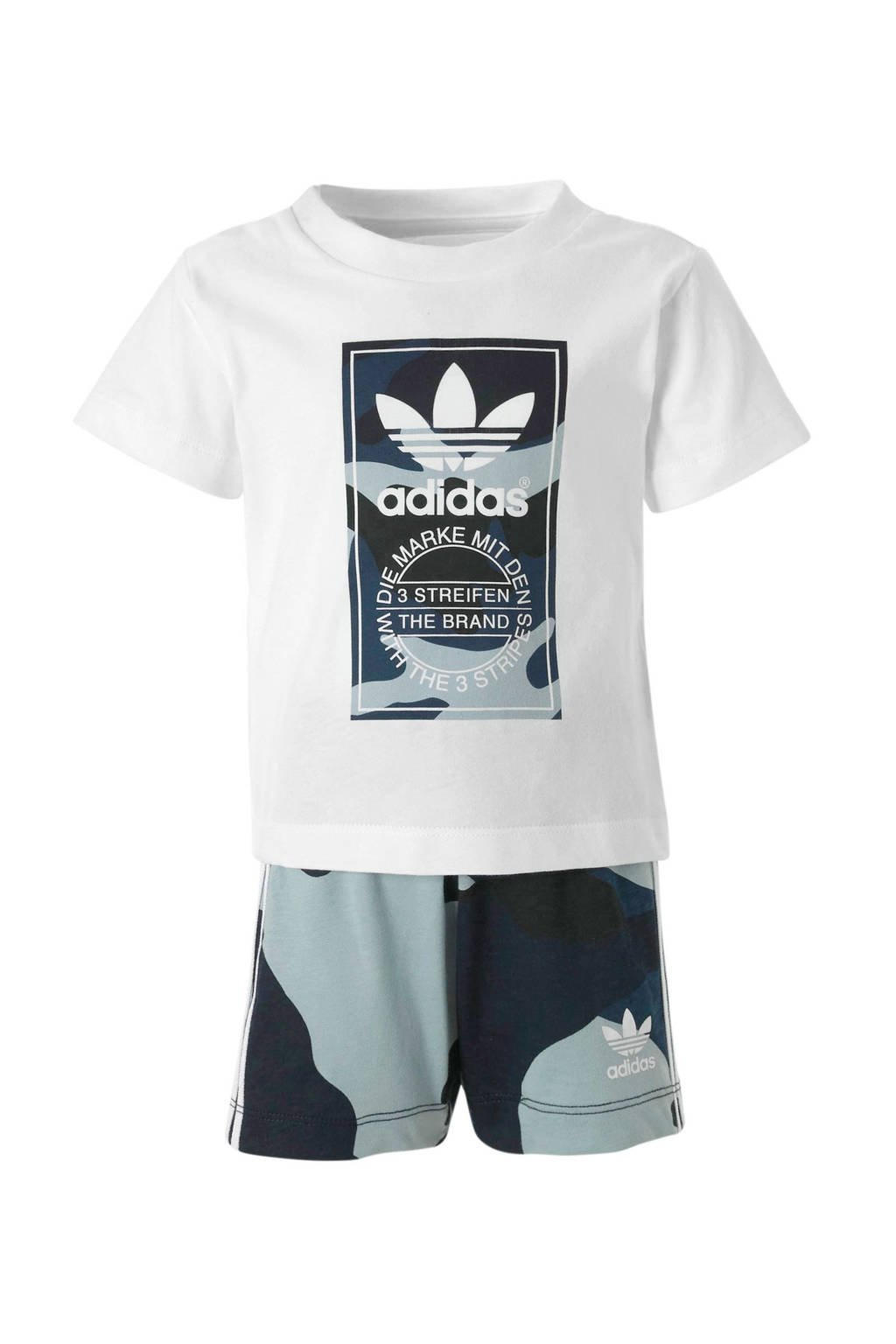 adidas originals   T-shirt + short wit/camo blauw, Wit/blauw