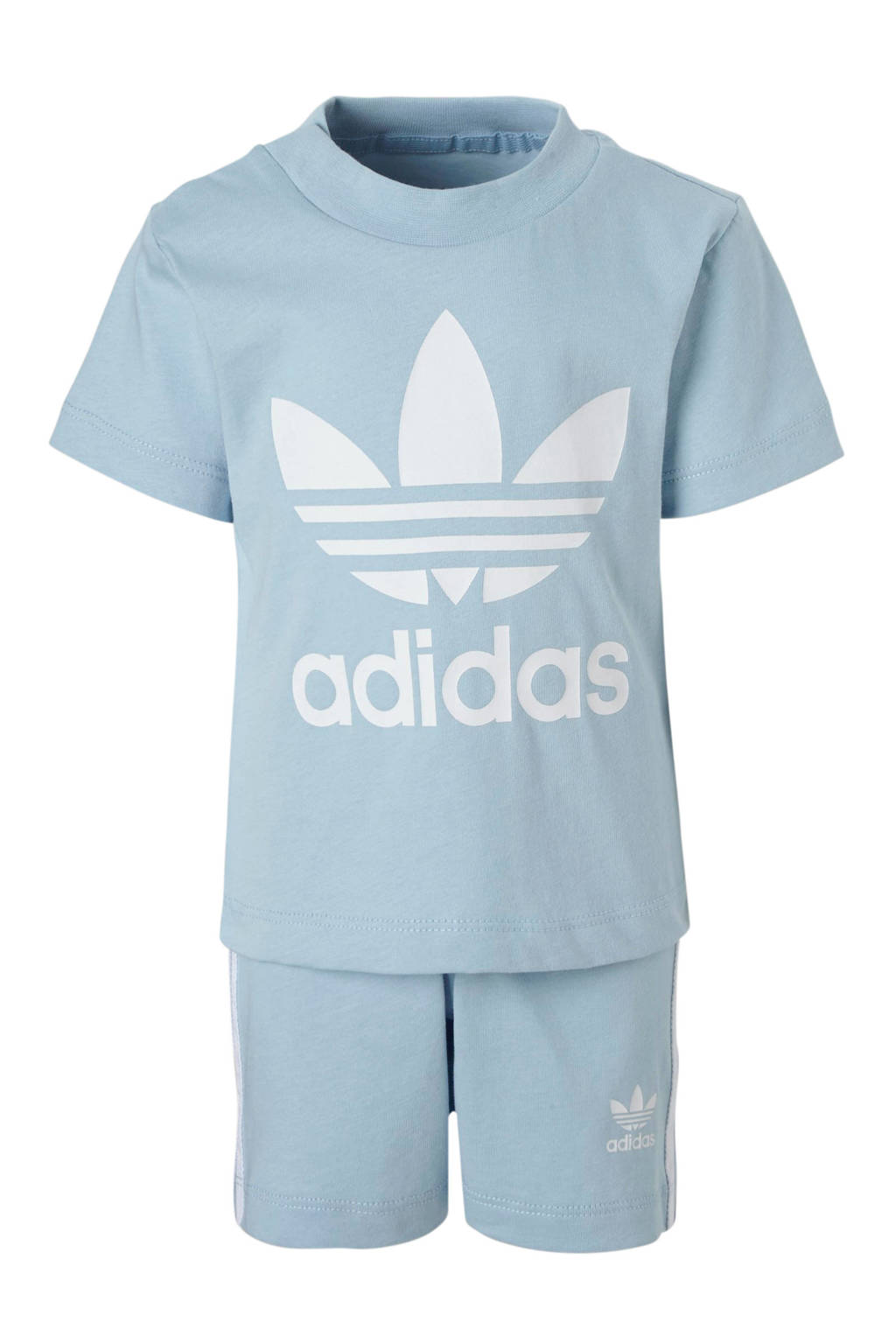 adidas originals shirt + short lichtblauw, Lichtblauw/wit