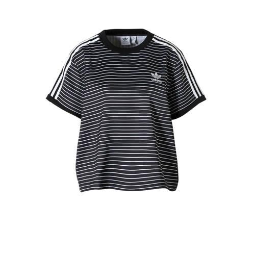 adidas originals originals T-shirt met strepen zwart-wit