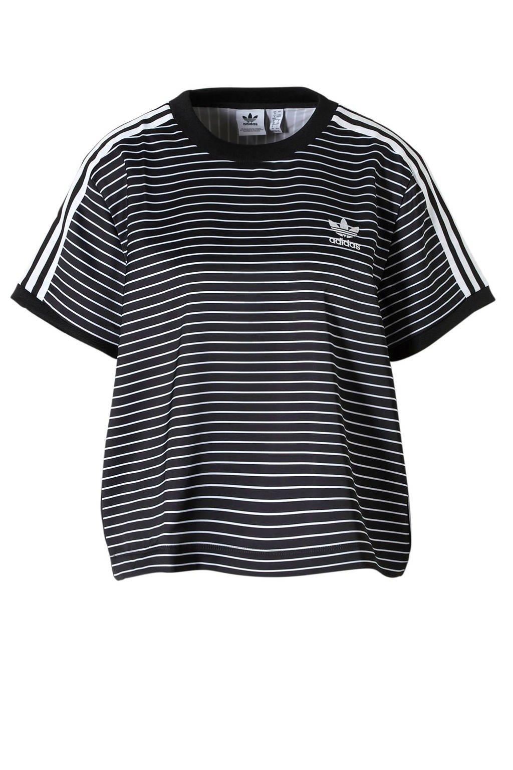 adidas originals originals T-shirt met strepen zwart/wit, Zwart/wit
