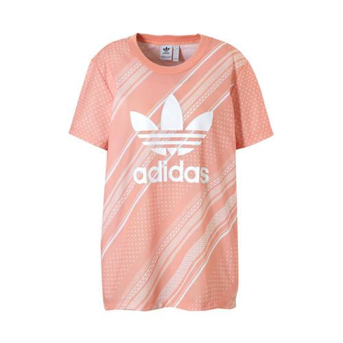 adidas originals T-shirt met all over print zalmroze-wit