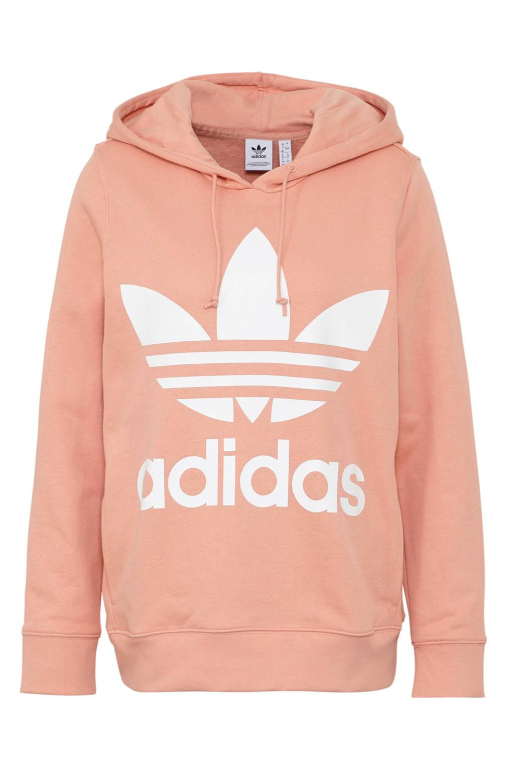 adidas originals hoodie zalmroze, zalmroze/wit