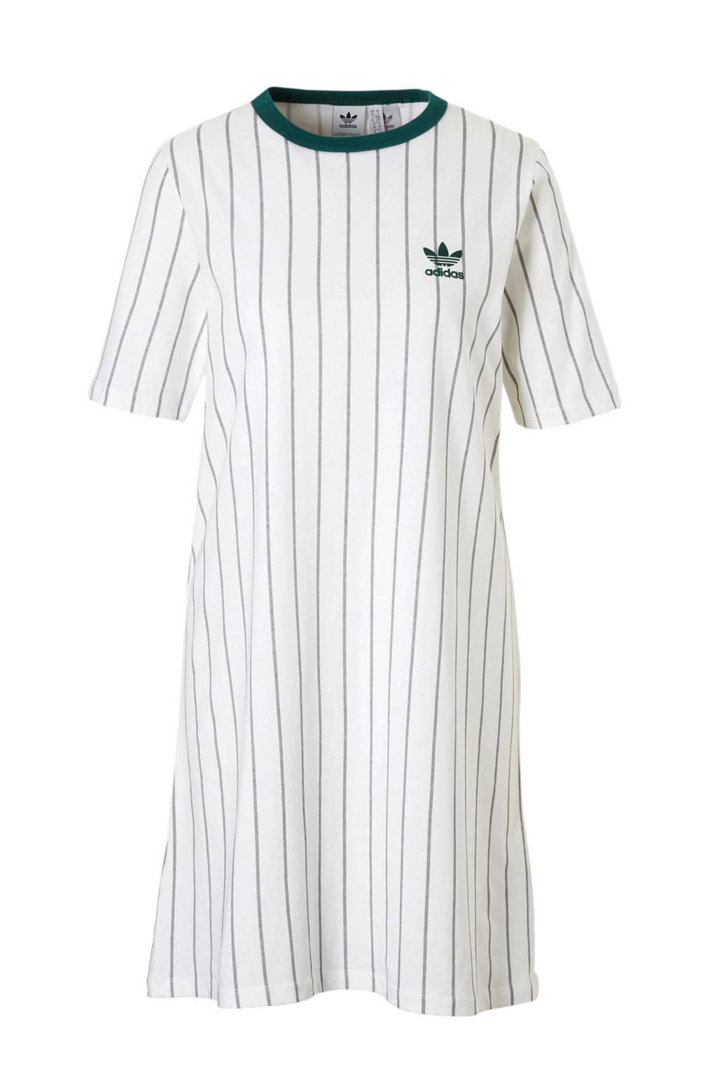 adidas originals T-shirt jurk wit/groen, Wit/groen