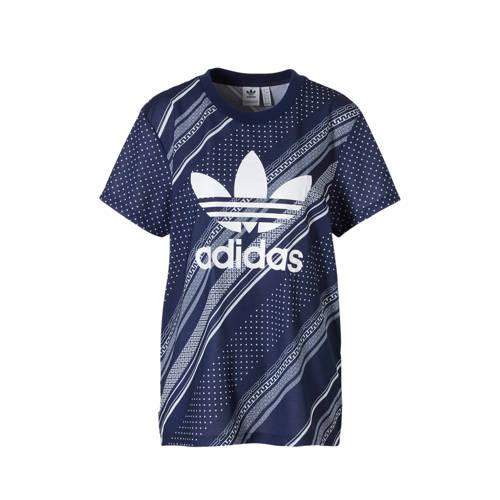 adidas originals T-shirt all over print blauw