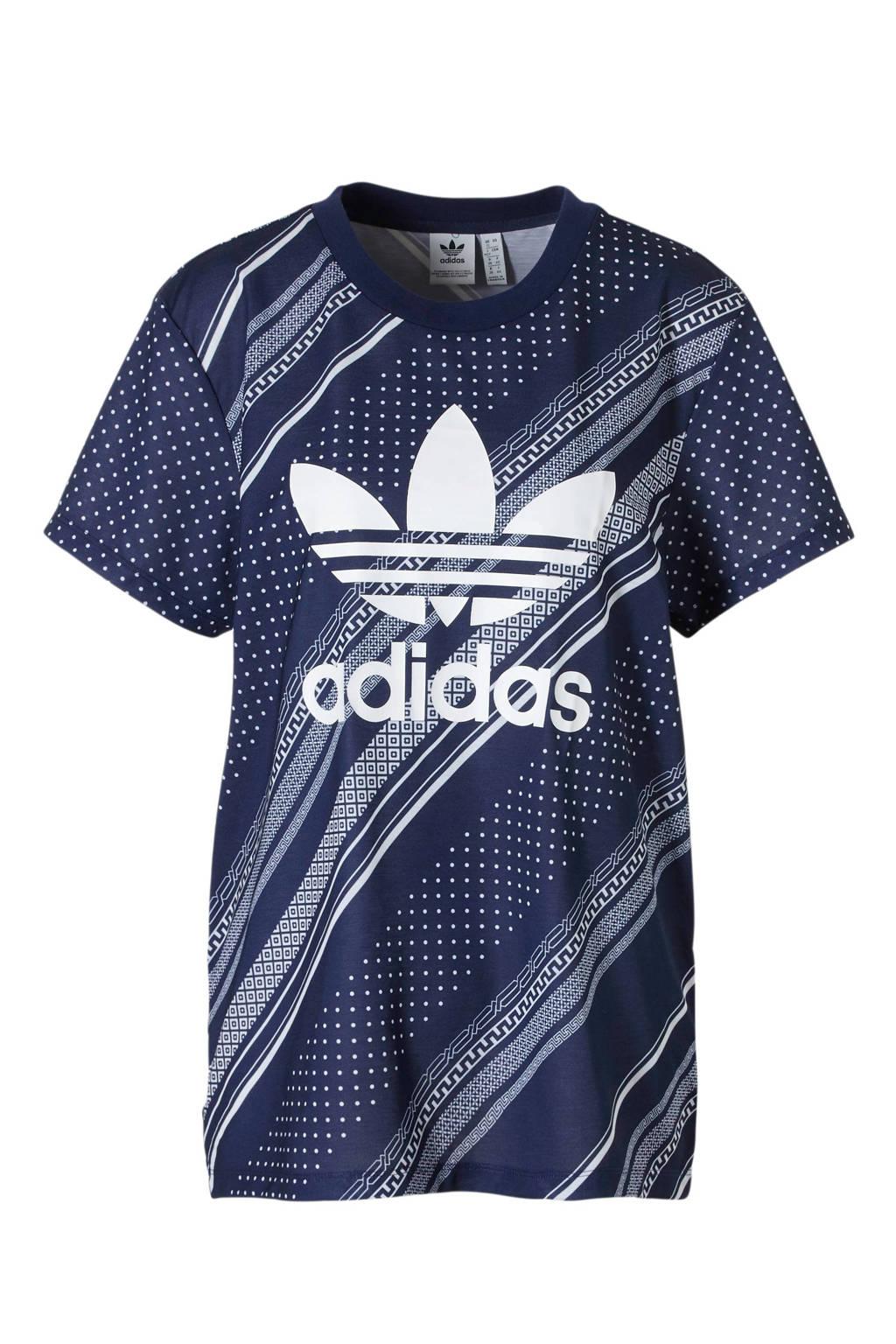 adidas originals T-shirt all over print blauw, Blauw/wit