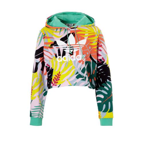 adidas originals cropped sweater met all over multi print oranje