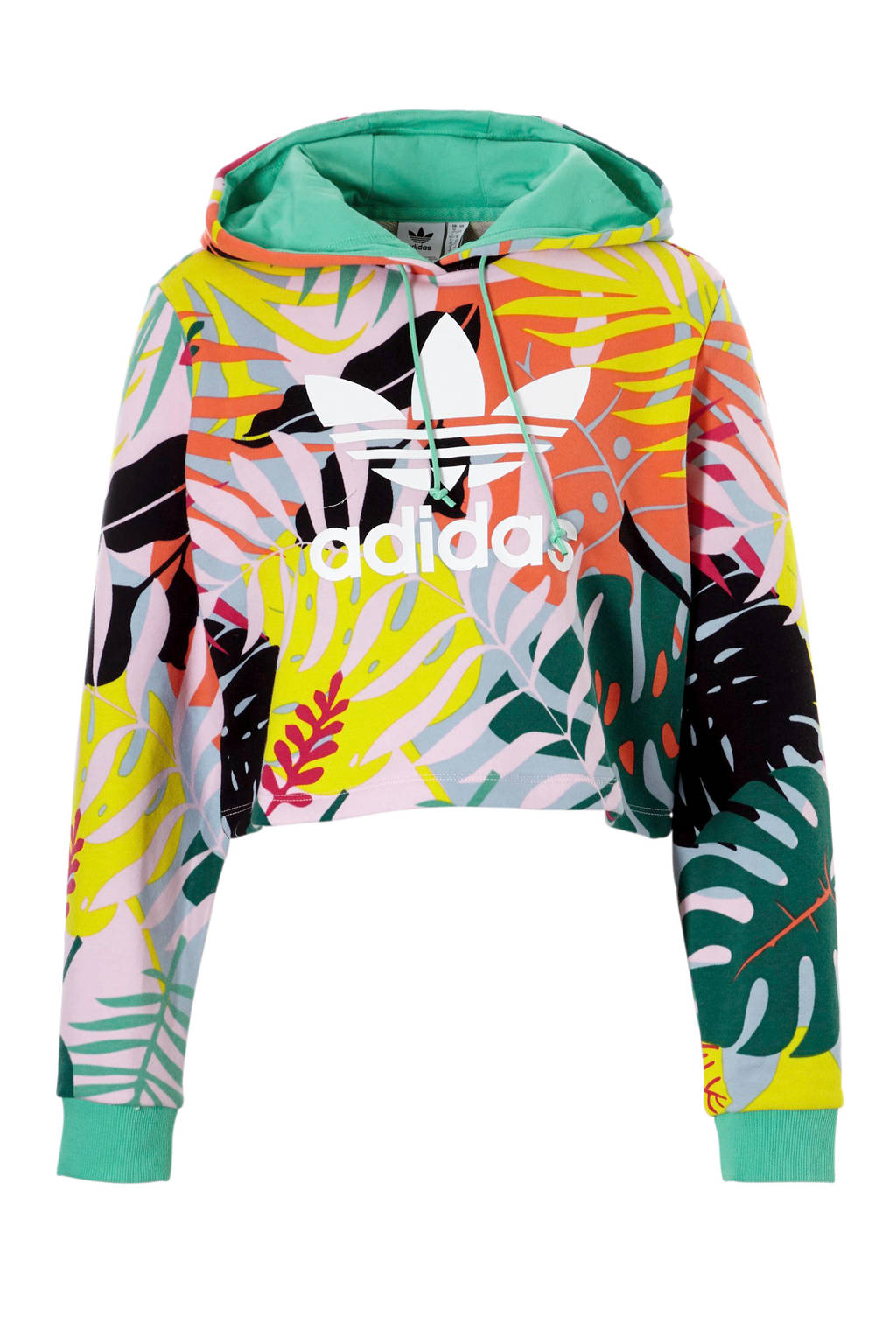 adidas originals cropped sweater met all over multi print oranje, Multi