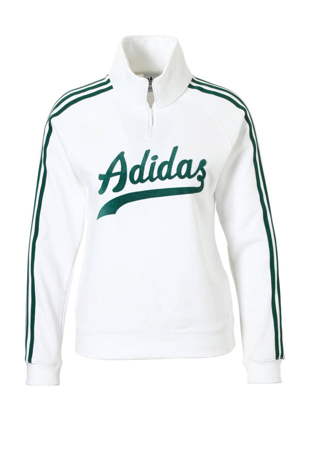 adidas Originals sweater wit/groen, Wit/groen
