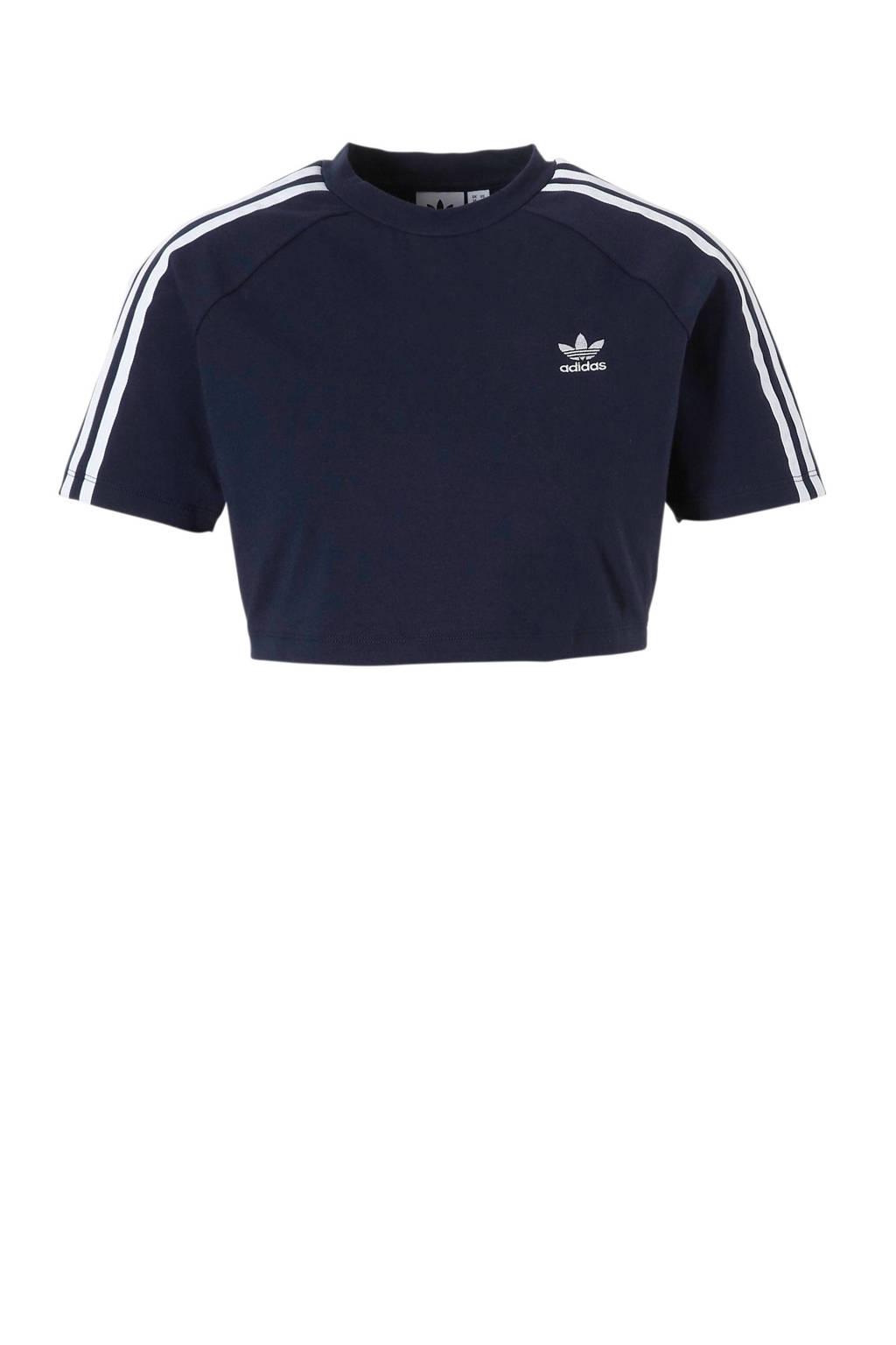 adidas originals T-shirt, Donkerblauw/bloemenprint