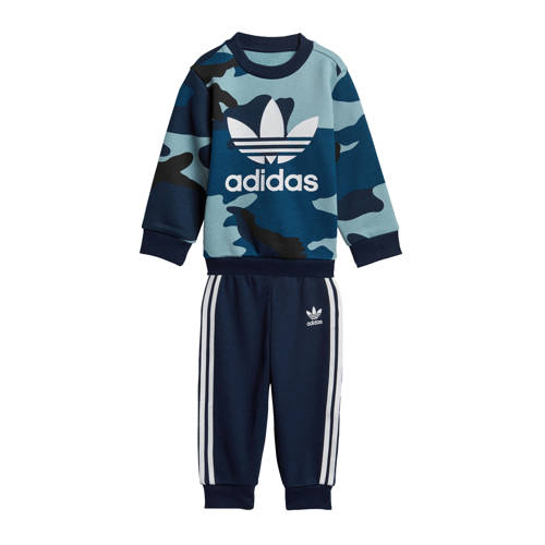 adidas originals trainingspak met camouflageprint blauw-wit-zwart