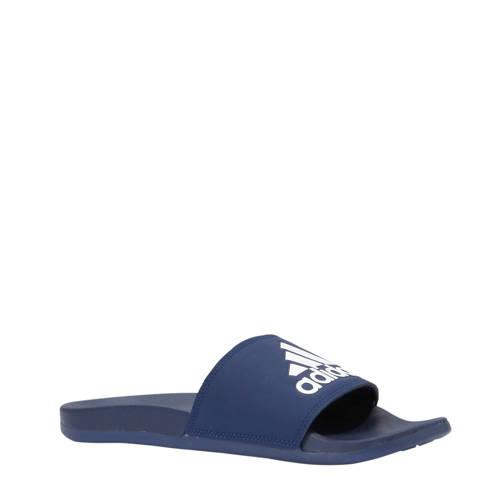 Adilette badslippers donkerblauw-wit