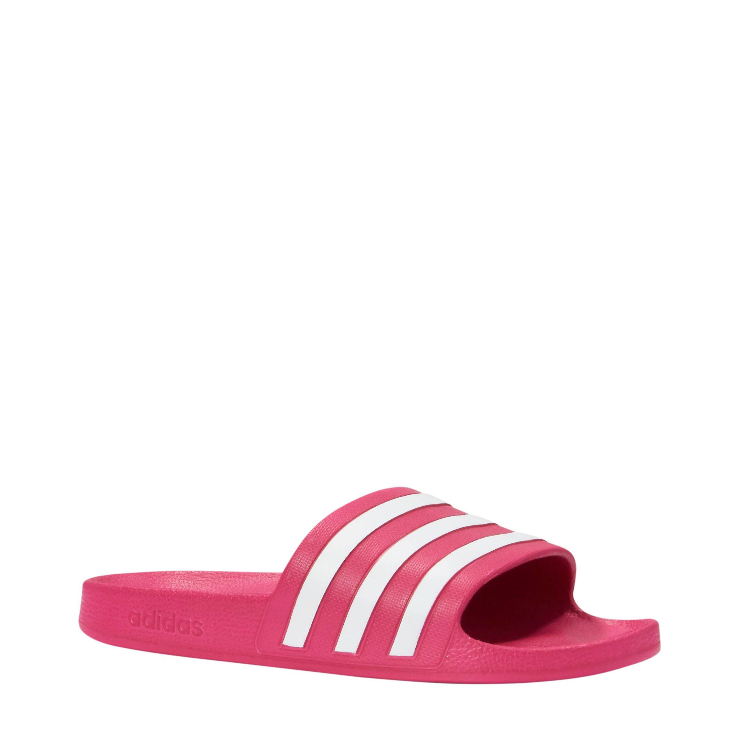 50f3752c52d adidas performance adilette aqua badslippers roze/wit | wehkamp