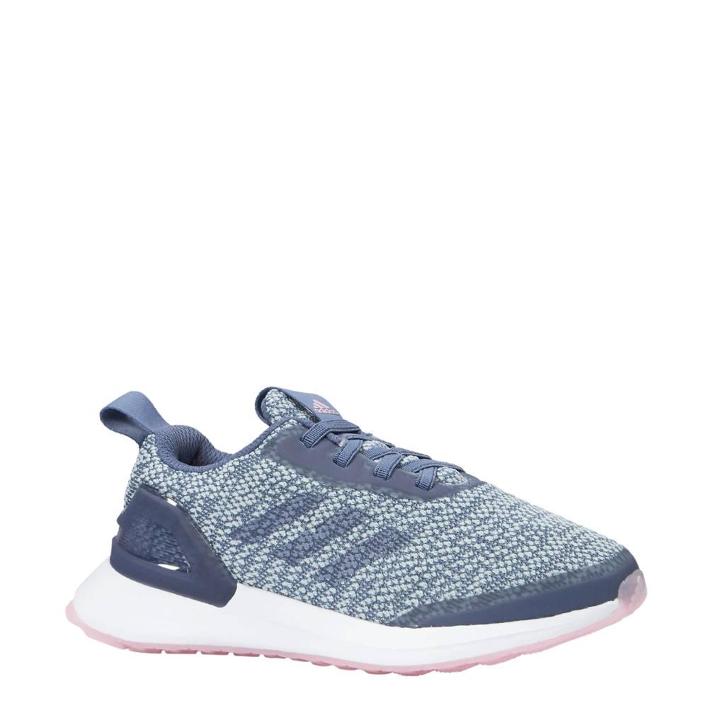 adidas performance meisjes RapidaRun X Knit EL C hardloopschoenen, Blauw/roze