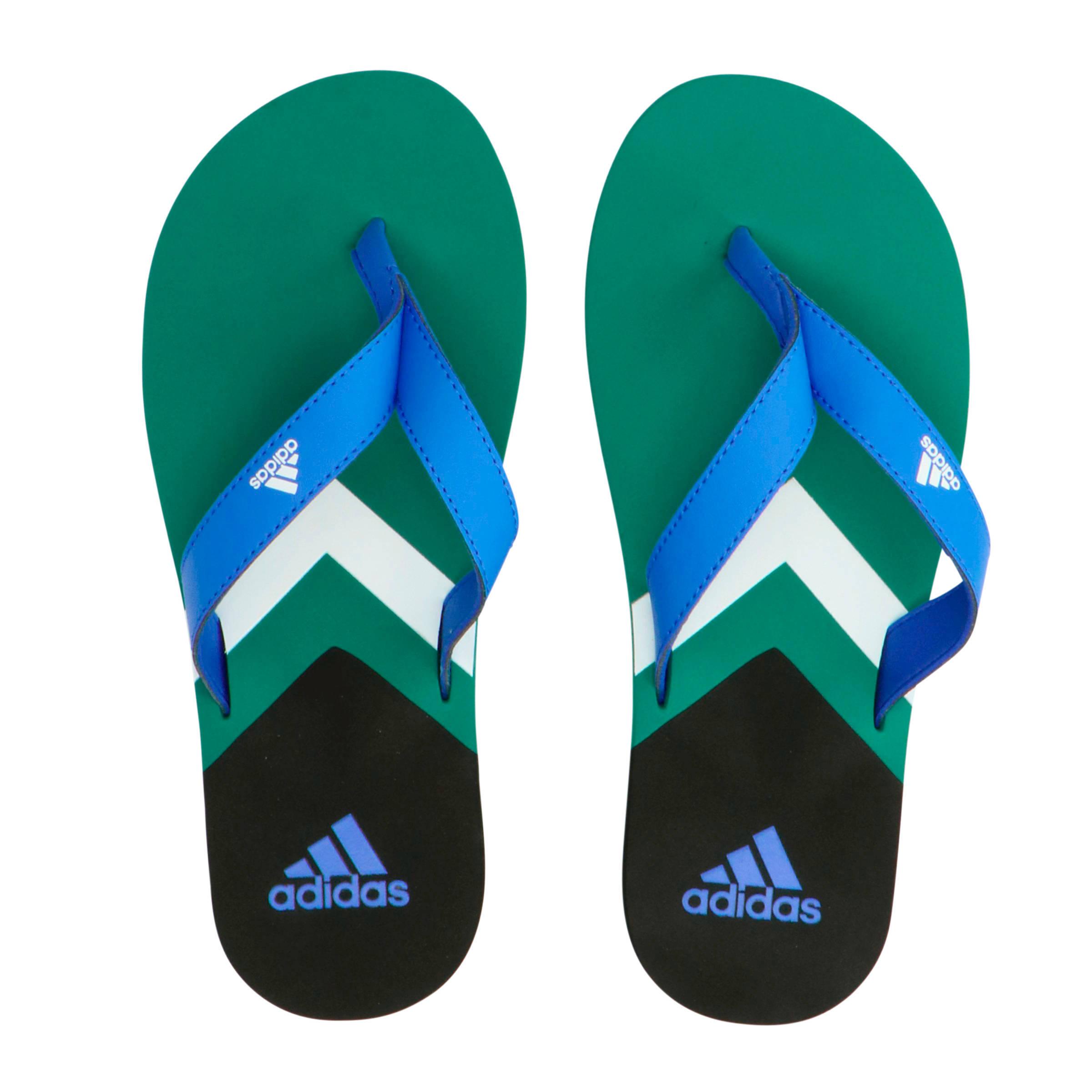 adidas slippers blauw groen