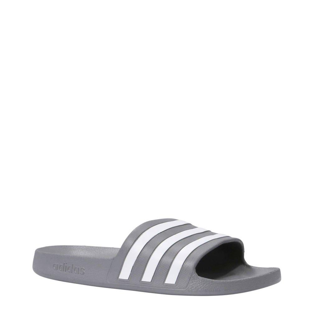 adidas performance   Adilette Aqua badslippers grijs/wit, Grijs/wit
