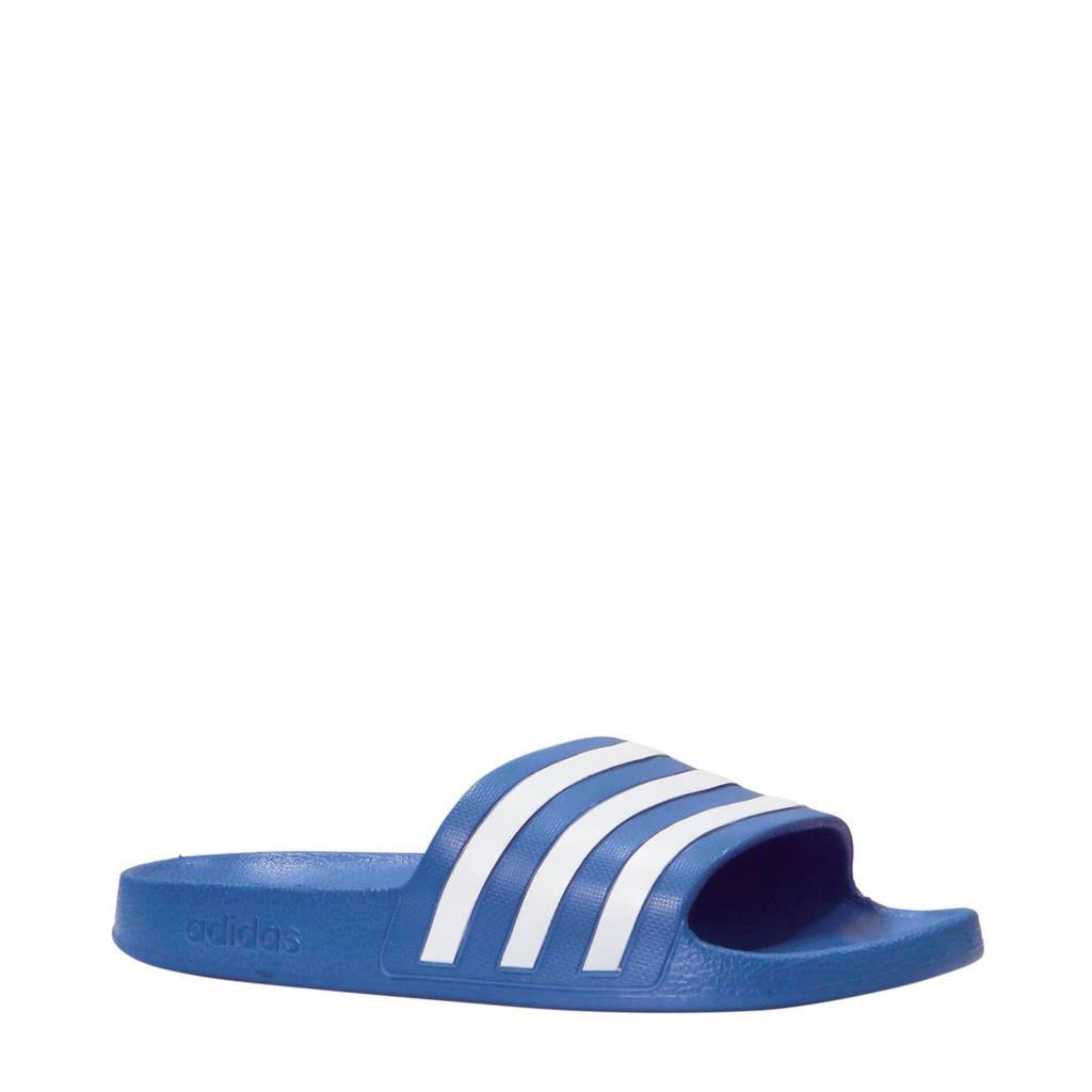 adidas Performance   Adilette Aqua badslippers aqua/wit, Blauw/wit
