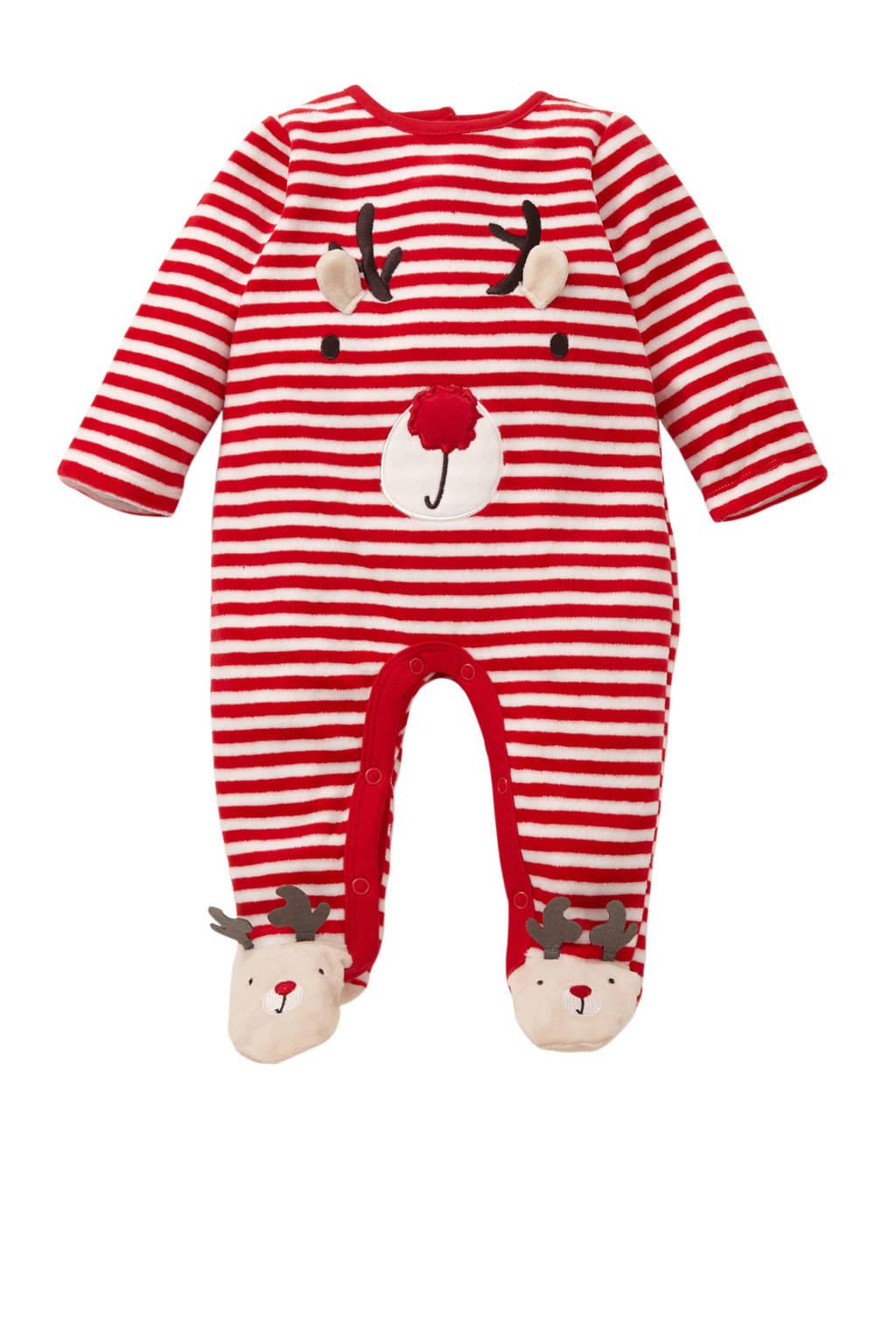 C&A Baby Club gestreept kerst boxpak rood, Rood/wit