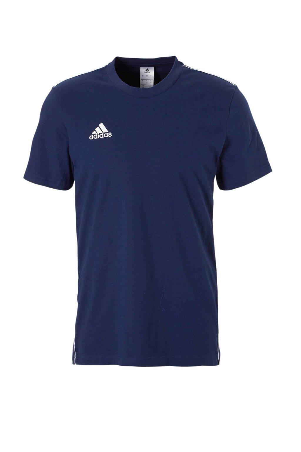 adidas performance   Core 18 sport T-shirt donkerblauw, Donkerblauw/wit