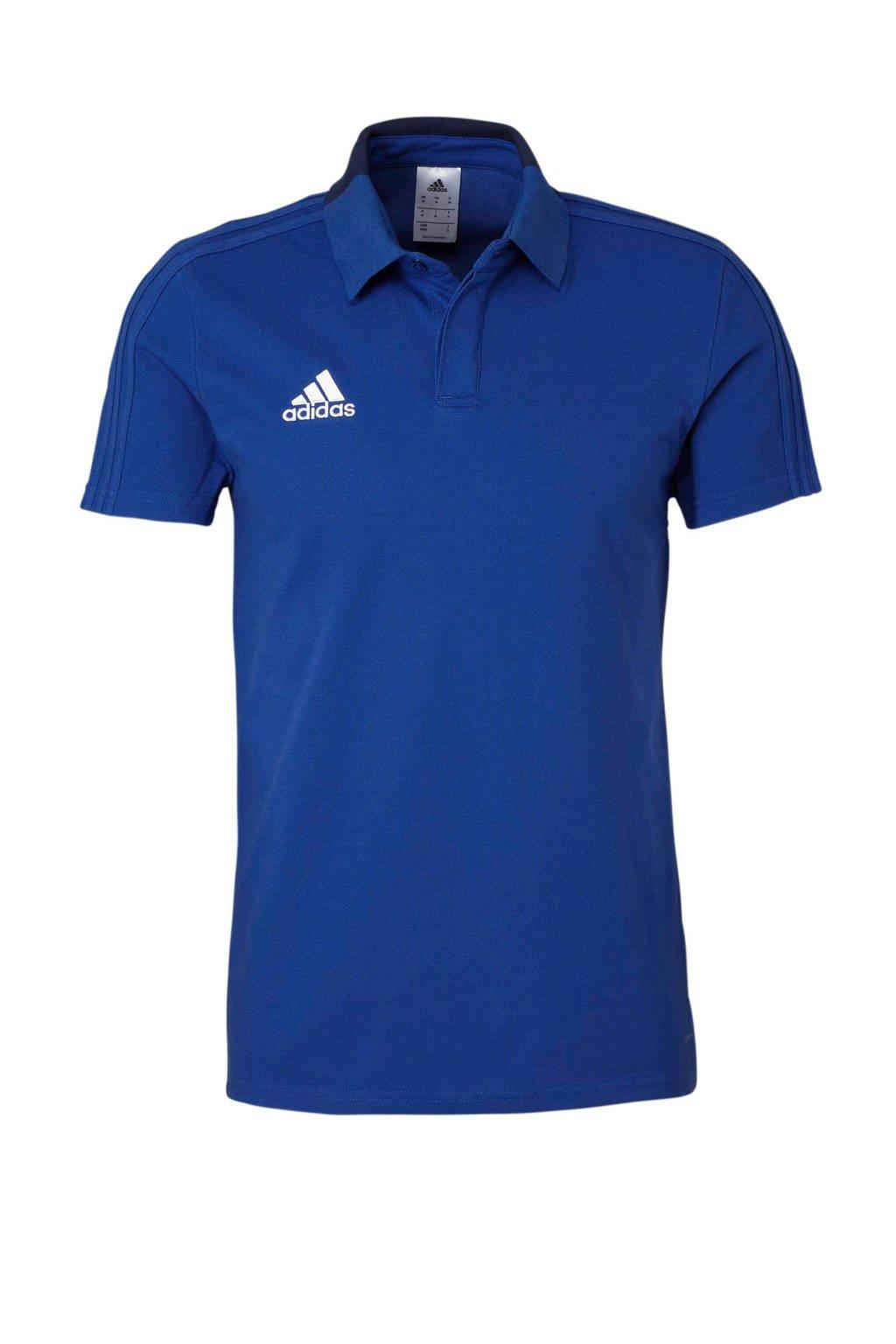 adidas   sportpolo Con18 blauw, Blauw