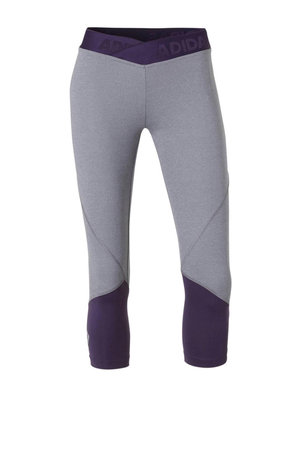 adidas performance sportcapri grijs/paars, Grijs/paars