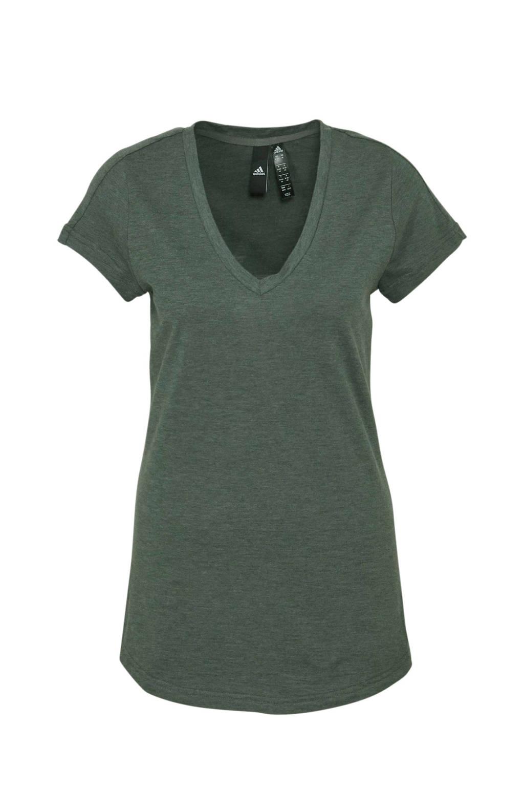adidas performance sport T-shirt groen, Groen/grijs