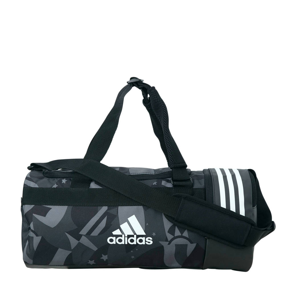 abc938e4577 adidas performance sporttas duffel M antraciet/zwart, Antraciet/zwart/wit
