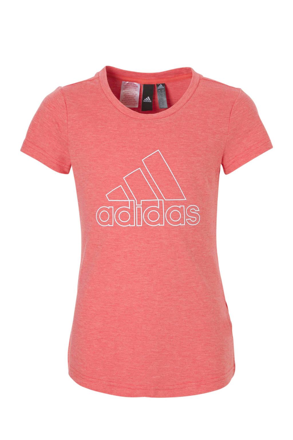 adidas performance sport T-shirt, Roze/wit