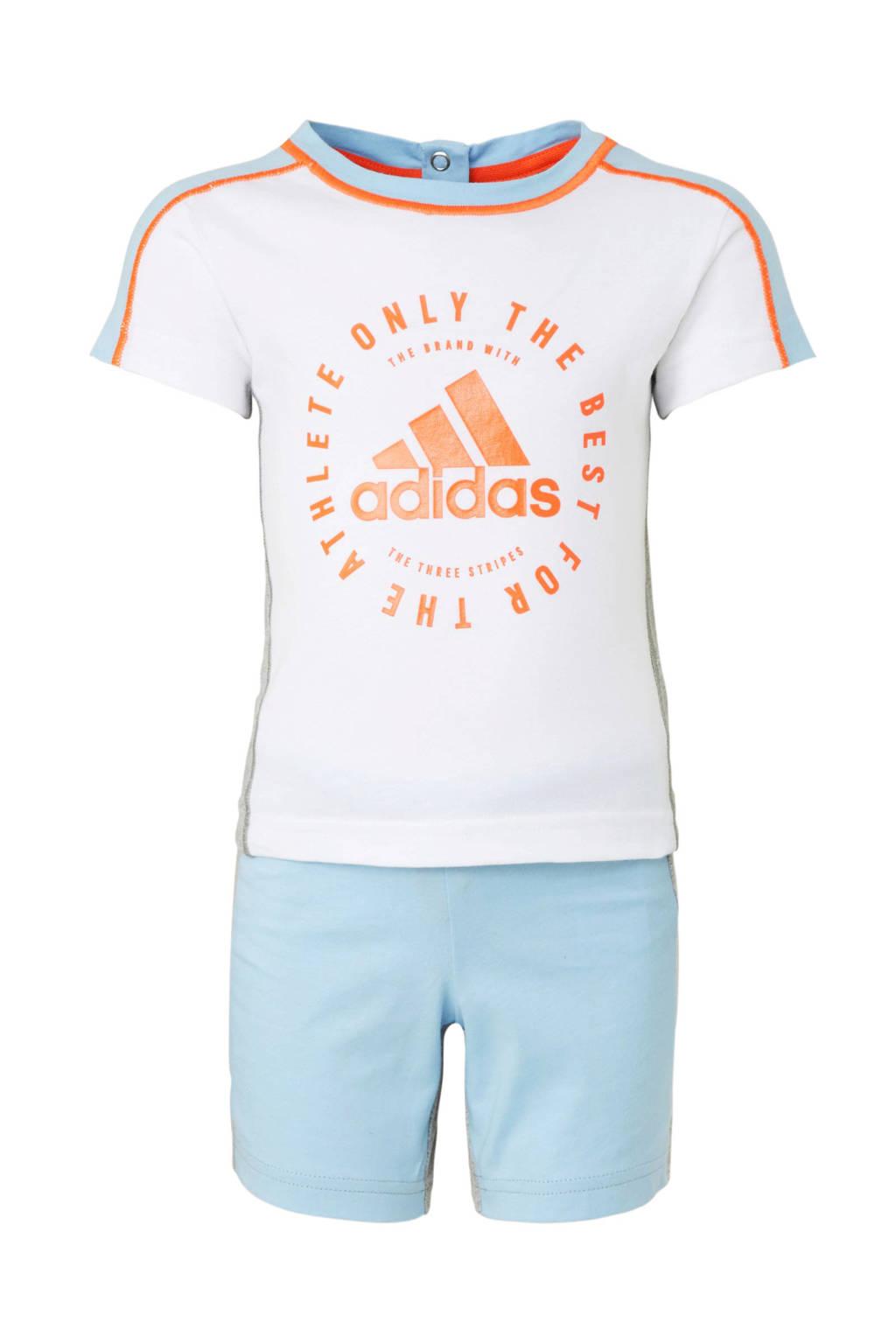 adidas performance   trainingspak wit/blauw/grijs/oranje, Wit/blauw/grijs/oranje