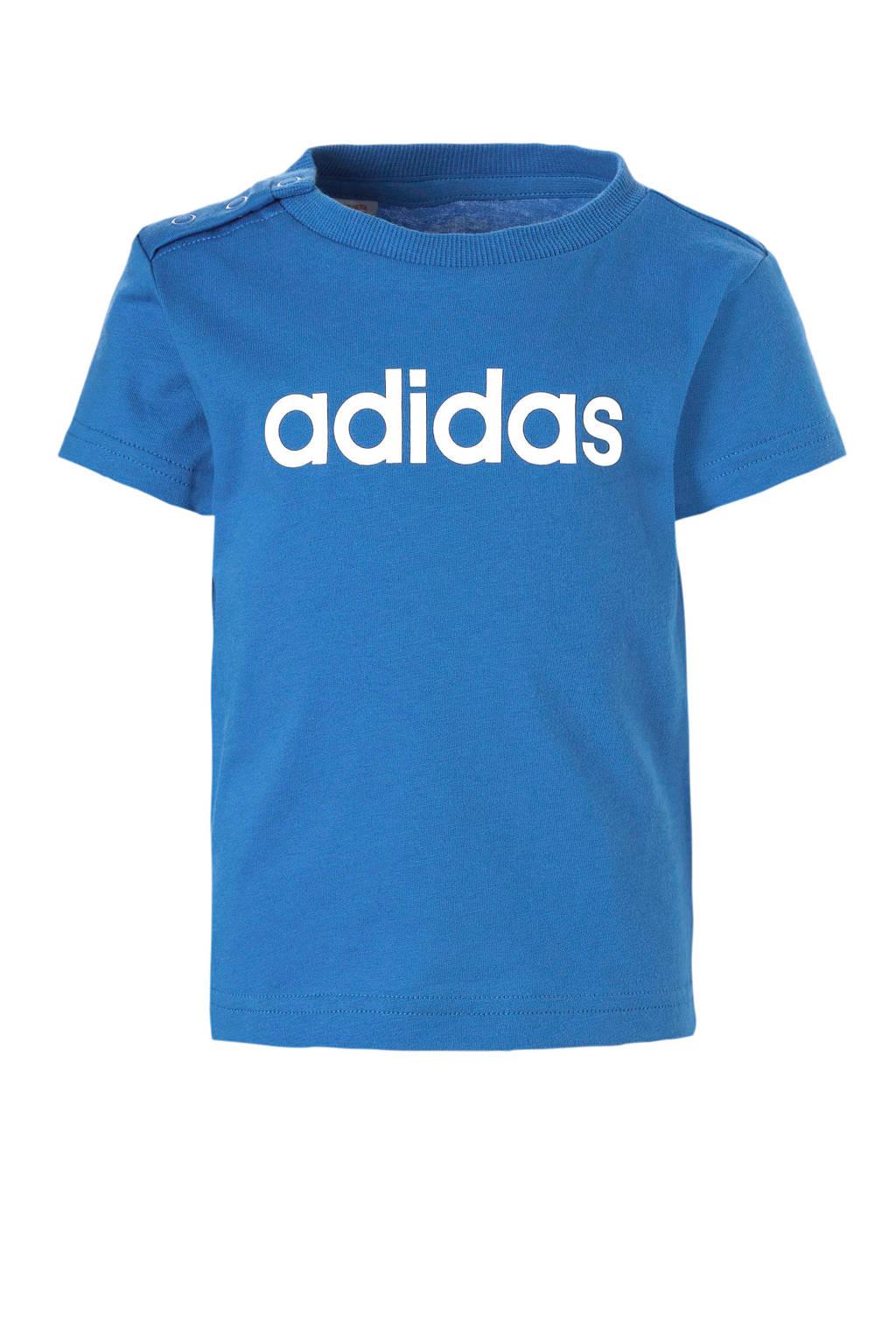 adidas performance T-shirt blauw, Blauw/wit