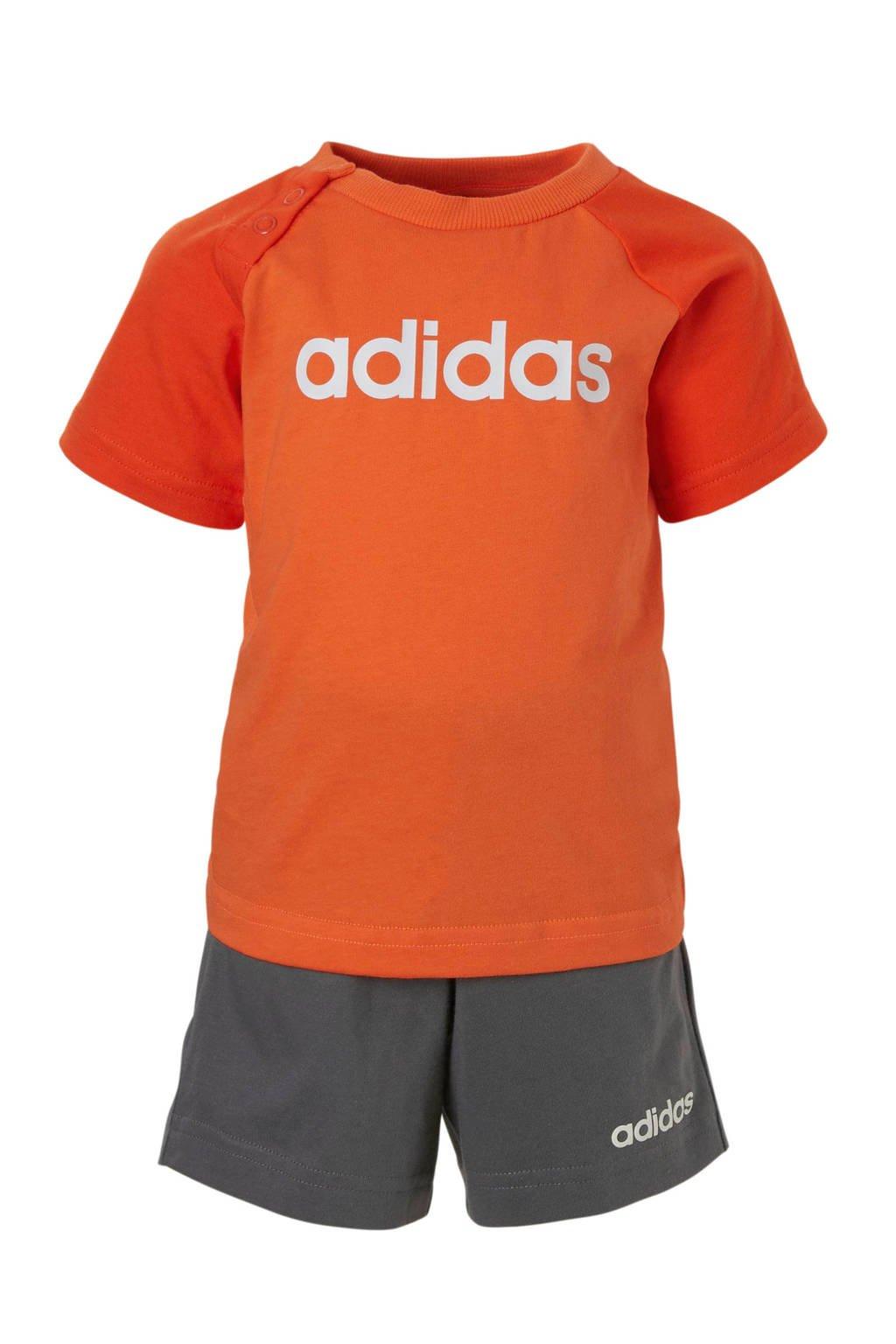 adidas performance T-shirt en short rood/antraciet