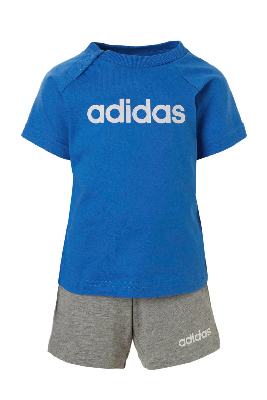 adidas performance T-shirt en short blauw/grijs, Blauw/grijs