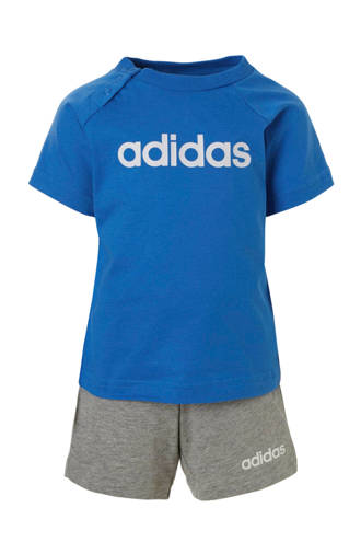 performance T-shirt en short blauw/grijs