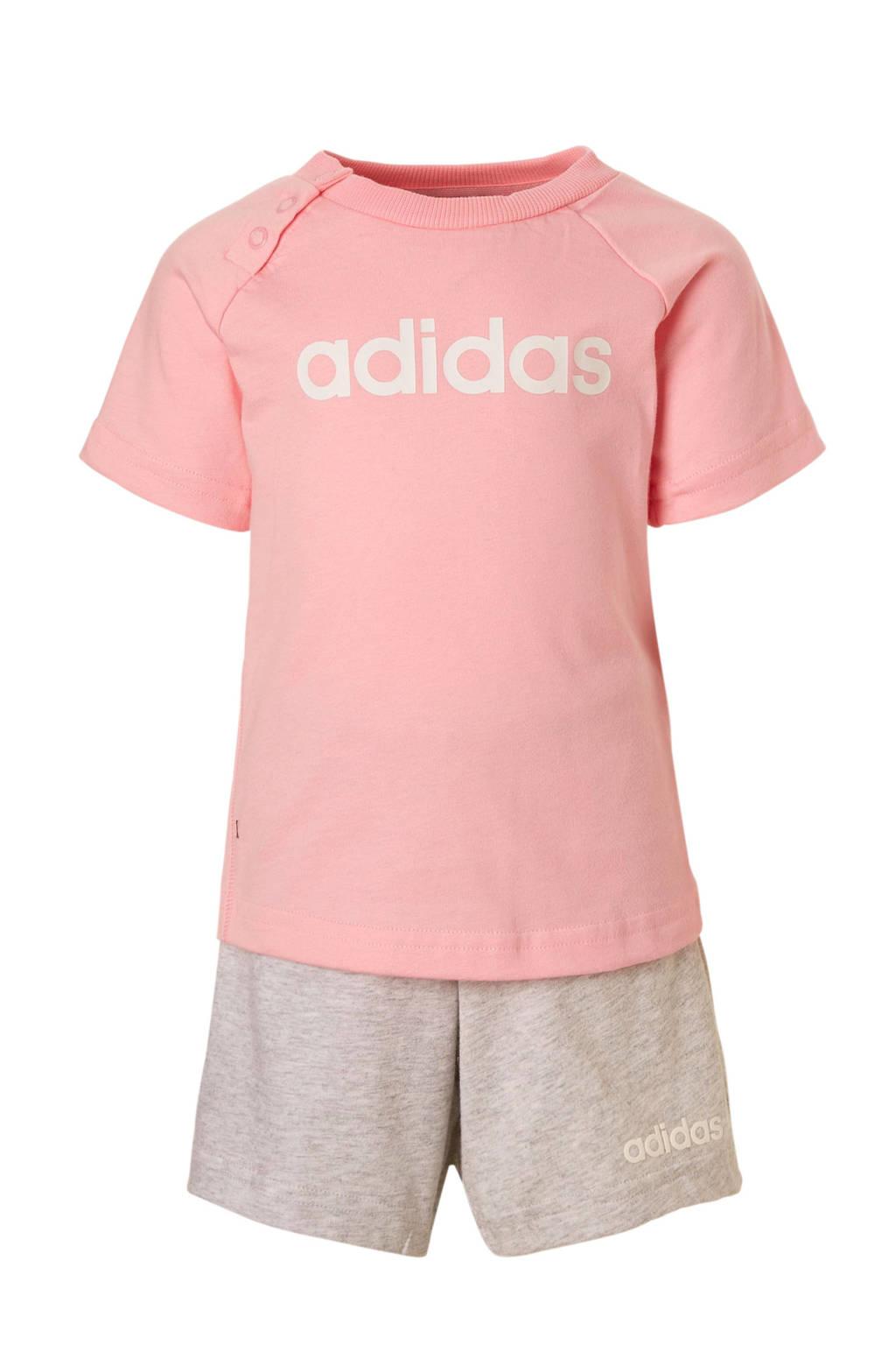 adidas performance T-shirt en short roze/grijs, Roze/grijs melange