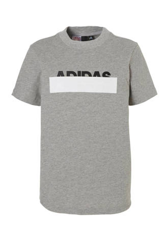 performance   sport T-shirt met printopdruk grijs