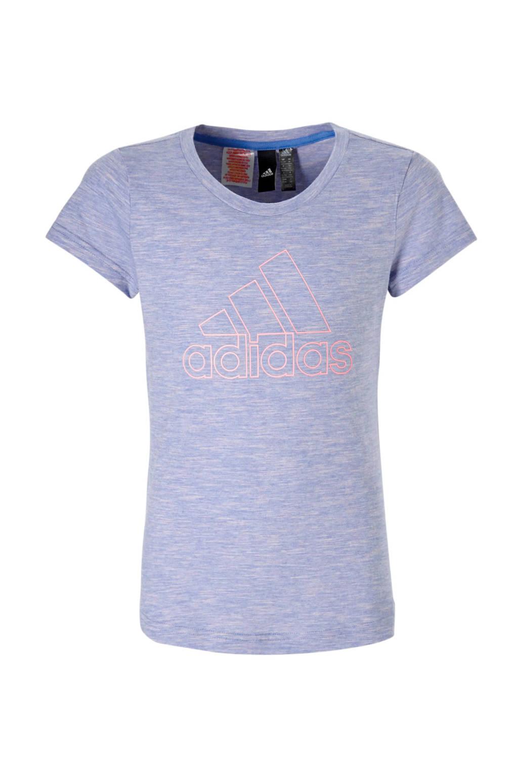 adidas performance sport T-shirt lichtblauw/roze, Lichtblauw/roze melange