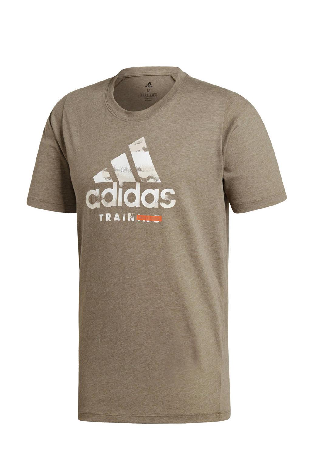 adidas performance   sport T-shirt kaki, Kakigroen
