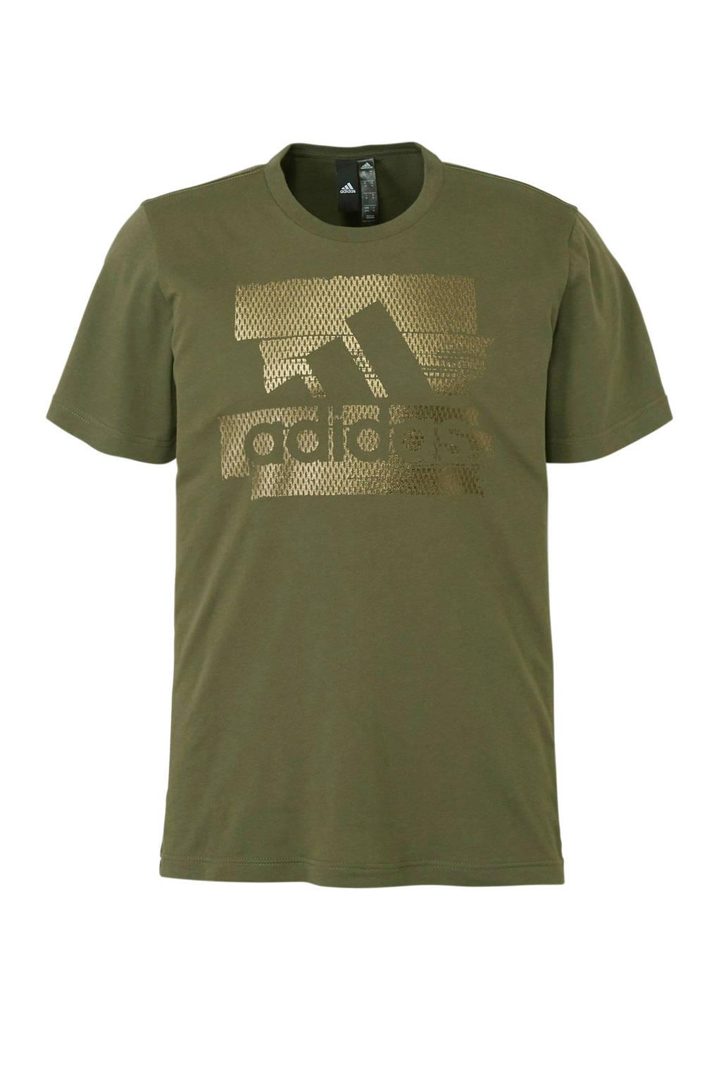 adidas performance   sport T-shirt met printopdruk groen, Groen