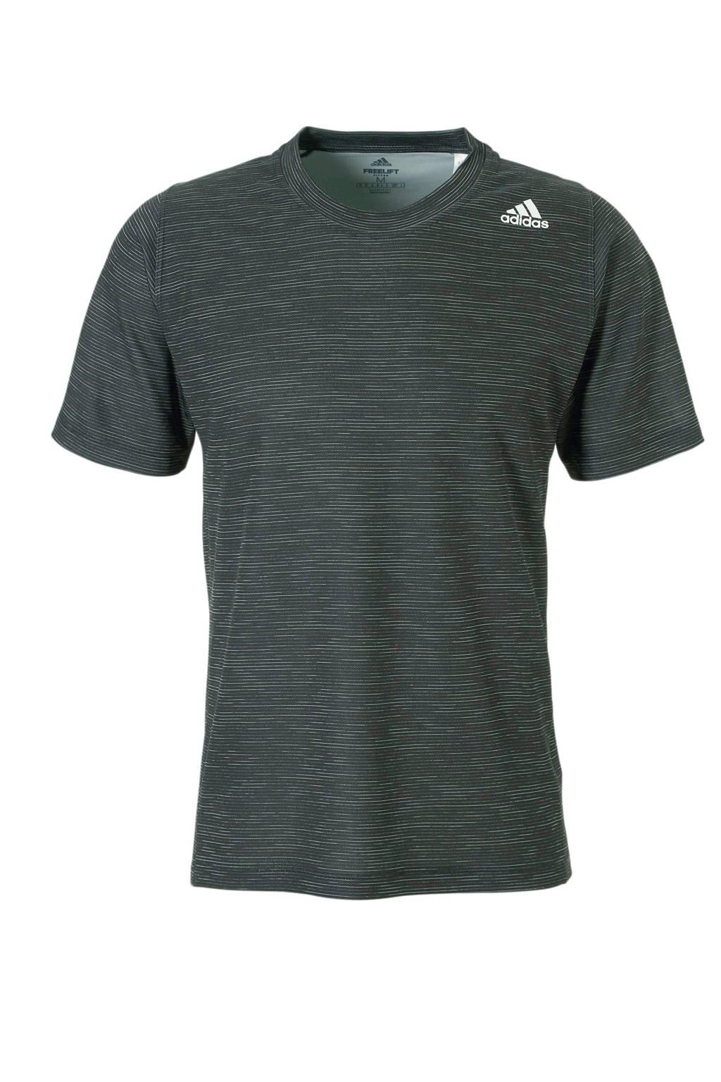 adidas Performance   Freelift Tech sport t-shirt zwart/wit, Zwart/wit