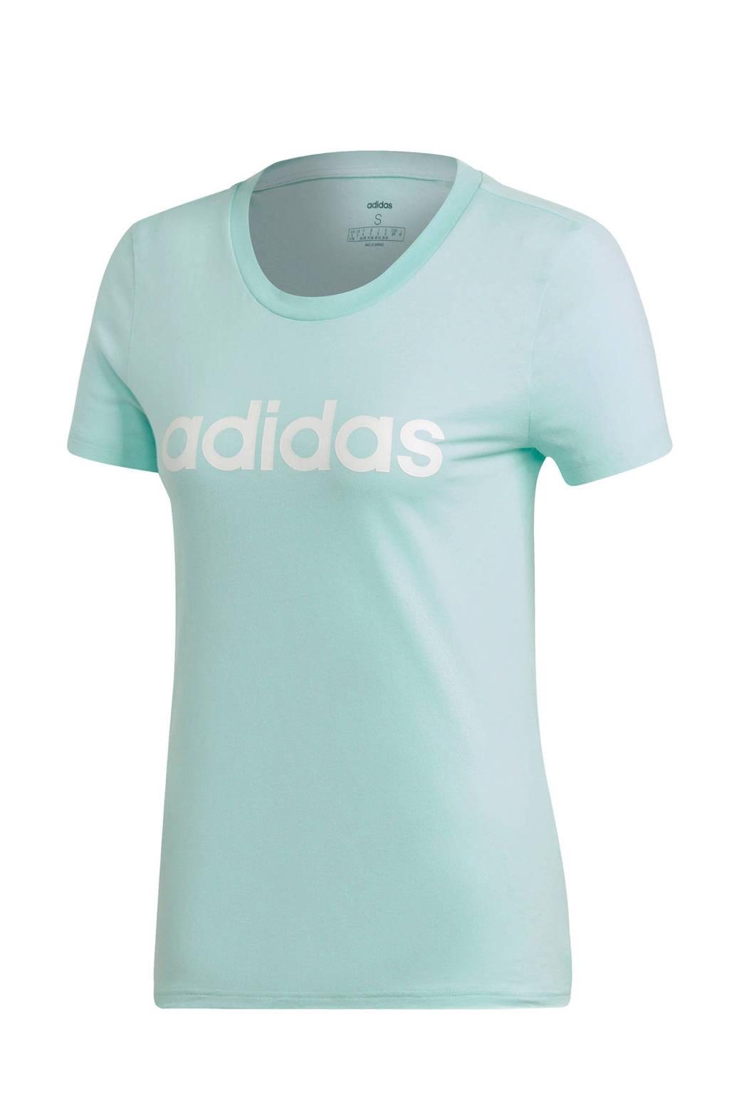 adidas performance sport T-shirt mintgroen, Mintrgroen/wit