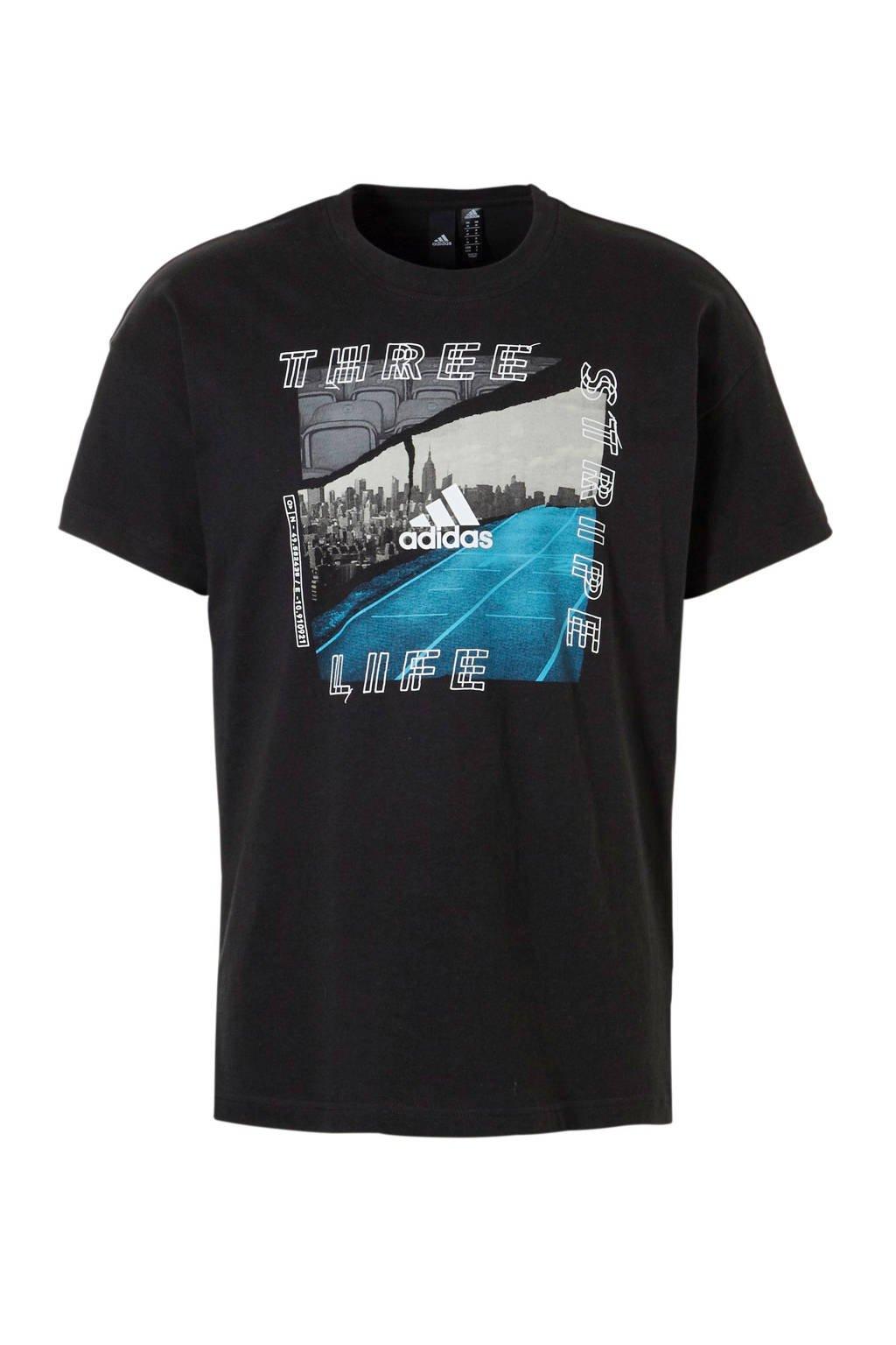 adidas performance   sport T-shirt met printopdruk zwart, Zwart