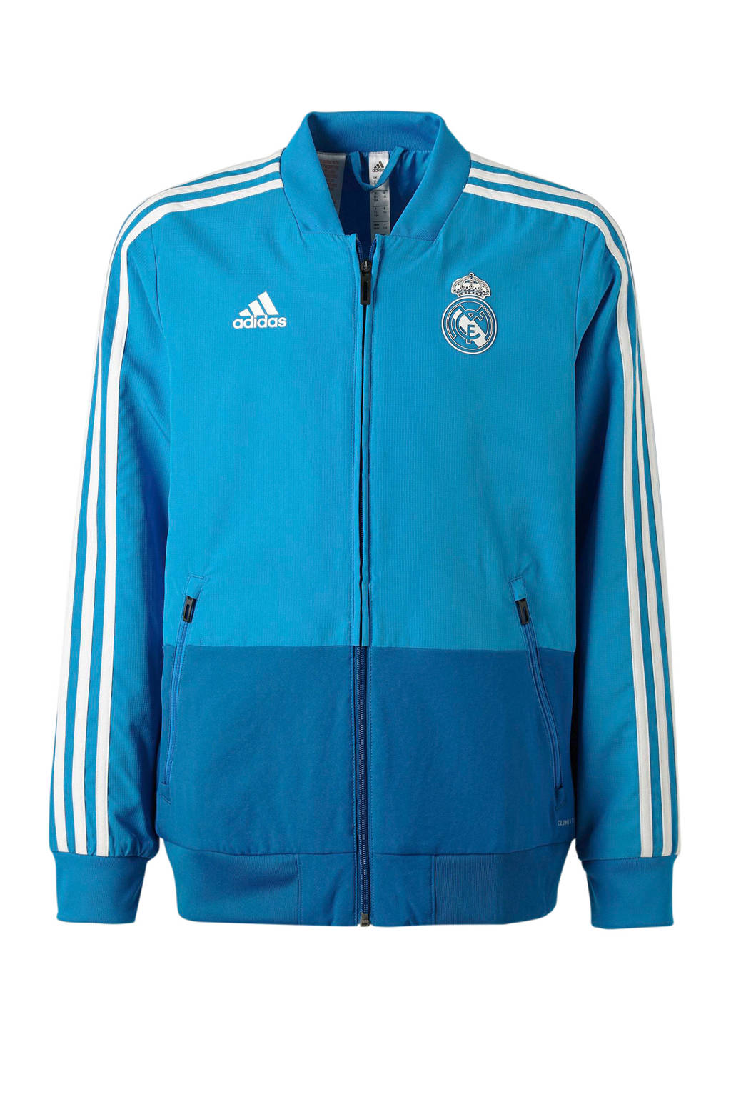 adidas performance Junior Real Madrid sportvest blauw, Blauw/wit