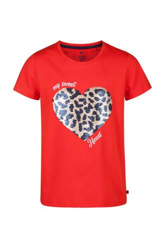 T-shirt met omkeerbare pailletten rood