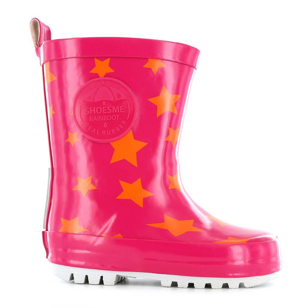 Shoesme regenlaarzen met sterren roze, Roze/oranje