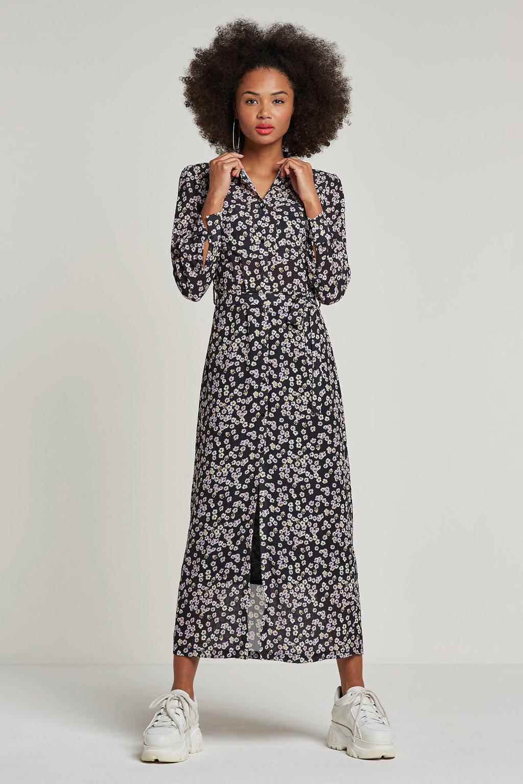 Another-Label gebloemde jurk, Zwart/lavendel