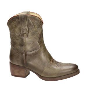 leren cowboy laarzen kaki