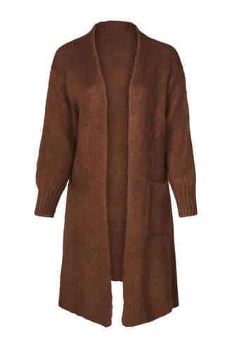 lange gebreide wollen vest bruin
