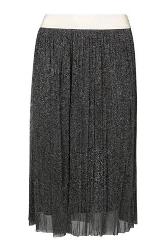 plissé rok met all over glitter zwart